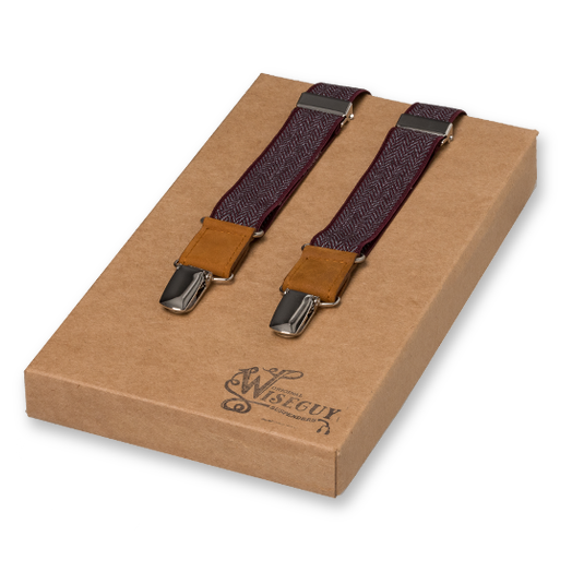 Wiseguy Suspenders - The Herringbone Bordeaux Rouge  (1)